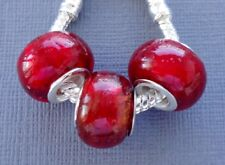 3 pcs RED Lampwork Large hole Glass charm Beads Fits European Bracelets G16