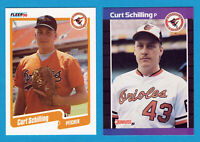 1989 CURT Schilling Rookie DONRUSS #635 & FLEER # U-68 2 CARD LOT RCS ORIOLES