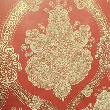 Gold Red Damask Wallpaper Indian Ethnic Floral Textured Holden Decor Moselle
