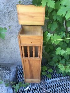 Vintage French Wood BAGUETTE BREAD Box Storage Basket Pantry Potato Onion Wooden