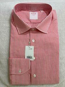 NEW Thomas Pink Business shirt Tailored Pink/white stripe Mens Sz17.5/44R RP$269