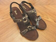 New BASS Diana Brown Strappy Style High Heel Wedge Slingback Sandals Size 8M