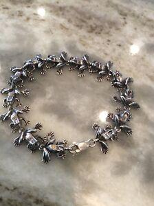 Cute vintage KBN Kabana Southwestern sterling Silver 925 Frog Links Bracelet