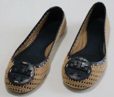 58b104f27edd Tory Burch 6.5 Navy Leather Beige Crochet Flat Ballet Slippers Round Toe  Brazil