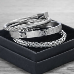Men 18k Stainless Steel Roman Number Wristband Bangle Twist Cable Wire Bracelets