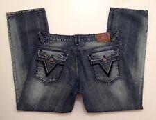 VIGOSS Fit Distressed Straight Leg Blue Jeans Men's Size W 38 x L 33 Stretch EUC