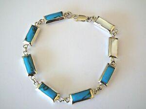 Bracelet - Turquoise/Nacre Blanc - Argent - 925/1000 - NEUF *