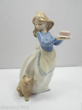 Nao by Lladro Figurine #1045 Puppy's Birthday, Girl w/ Cake & Dog