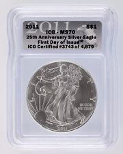 2011 S$1 Silver American Eagle Graded by ICG as MS-70 First Day of Issue