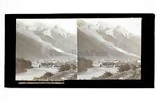 Chamonix et le Mont Blanc Grande Plaque stereo par Ferrier ca 1865