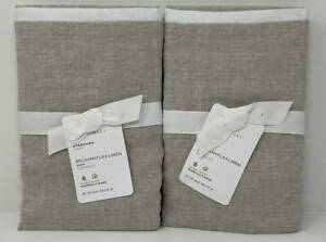 Pottery Barn Belgian Flax Contrast Standard Shams (Set of 2) ~ Natural / White