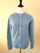 Vintage Hand Knit Mohair Blue Cardigan Sweater