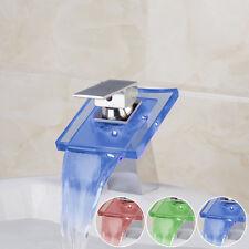 LED Light Chrome Brass Bathroom Basin Faucet Vanity Sink Waterfall Mixer Tap
