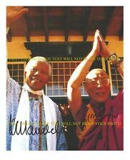 NELSON MANDELA AND DALI LAMA SIGNED AUTOGRAPH 8x10 RP PHOTO FREEDOM