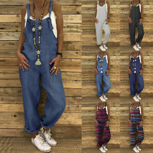 Womens Sleeveless Strap Striped Jumpsuits Casual Loose Baggy Playsuits Overalls