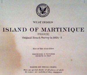 1887 Antique Nautical Sea Sailing Chart Map Martinique Carribbean (1916)