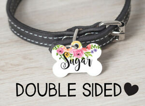 Floral Dog Tag | Personalized Pet ID Tag | Dog ID Tag for Collar | Dog Name Tag