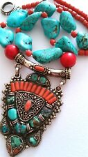"""^ Vintage Natural 925 Silver Turquoise/Coral Necklace, 20"""" long"""