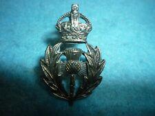 Genuine-The Queens Own Cameron Highlanders Silver Offr's Collar Badge-WW1 Era
