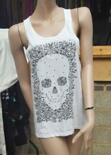 Ladies TopShop White Vest Top Skeleton Face Print - UK Size 10 Loose Fit