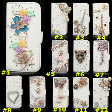 Handmade Bling Diamond Leather Flip Wallet stand Cover Cases + Crystals strap I