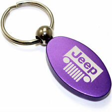 Purple Aluminum Metal Oval Jeep Grille Logo Key Chain Fob Chrome Ring