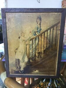 Old Tin Victorian Scene Cracker Box