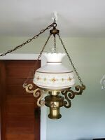 Large Vintage 3 Way Swag Lamp W Painted Milk Glass Shade