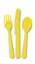 Plastic Cutlery - Sunflower Yellow Assorted (8 each forks, knives and spoons)