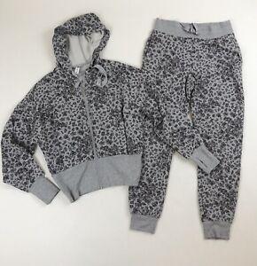Athleta Balance Printed Grey Floral Jogger Pants & Cropped Hoodie Set Sz XS