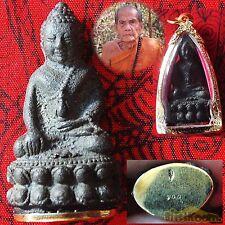 1 Phra Kring Tetaselo Nampee Steel LP Moon antique CAST Lucky Rich Buddha AMULET