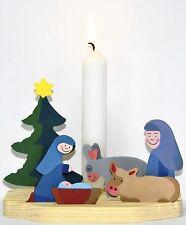 KERZENHALTER KRIPPE Weihnachtskrippe Kerzen Halter Ständer Holz Weihnachten Kind