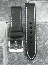 24mm PAM NEW COW LEATHER STRAP Black Watch Band White 24 mm Tang Buckle