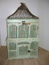 Large Birdcage-Chippy Aqua Green-Wood & Metal-Home Decor