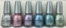 China Glaze Nail Polish Crinkled Chrome Collection 6 Lacquers Set