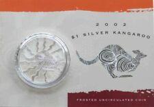 Australia 1 Dollar 2002  Kangaroo  .999 Silver Bullion Coin in card / Coa