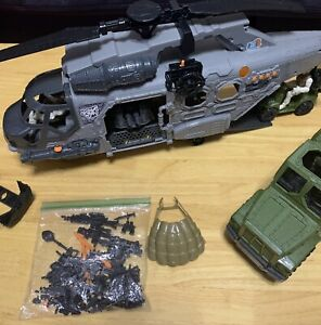 Military Toys Play Set Helicopter Truck Soldiers With Weapons
