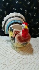 Vintage Ceramic Hand Painted Turkey Planter Thanksgiving