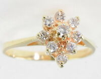 Ladies 14k Yellow Gold 1/3 Ct Cttw Diamond Cocktail Cluster Estate Ring