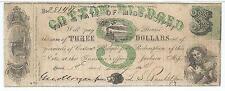 Mississippi Jackson $3 bank note 1862 Cr19R5 #28144 boy sailor boat