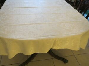 Cream Ivory Tablecloth Damask 52 x 70 Oblong