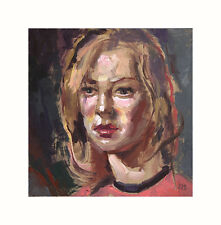 Listed Artist - Oil Painting - 6x6 inches - Study of a Young Girl's Face -