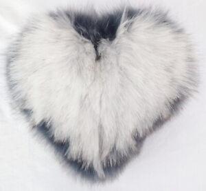 Fur Heart Pillow Blue Fox Love Gift Soft Fur Sofa Deco Natural White Blue