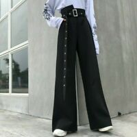 Lady Punk Pants Trousers Retro Gothic Wide Legs Loose Adjustable Waist Fashion