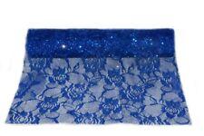 Chemin de Table Fleurs Organza Bleu Décoration Noël Mariage Soirée Fête