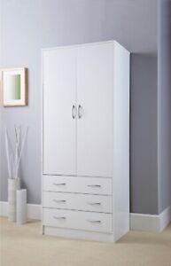 SB19 Fabulous Lokken 3 Drawer Double Wardrobe W74 x D50 x H180cm (Approx.)-White