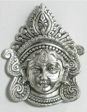 **Beautiful** Medium Silver Coloured Durga Maa Hindu Metal Wall Plaque Mask
