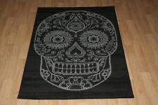 Quality Black Grey Sugar Skull Rug 150cm x 100cm Skull Cross-Bone Print Rug