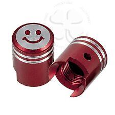 2x Red CNC Tire Valve Stem Smiley Dust Caps Pistons GSXR CBR Ninja ZX YZF R1 R6