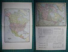 North America Canada Vintage Original Antique 1885 Cram's World Atlas Map Lot